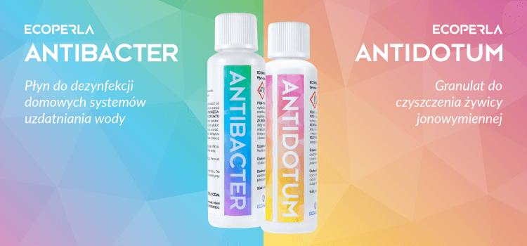 Ecoperla Antidotum i Ecoperla Antibacter - preparaty do pielęgnacji urządzeń filtracyjnych